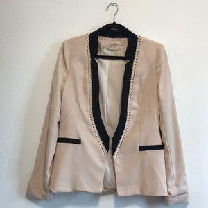 Anthropologie Cartonnier blush pink & black blazer